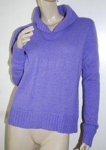 CHARTER CLUB Size M Purple Wool Angora Cashmere Blend Shawl Collar