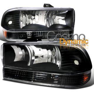 4pc Black 98 04 Chevy S10 Blazer Headlights Lamps w Bumper Signal