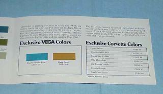 1971 Chevrolet Color Spectrum Brochure Paint Chips