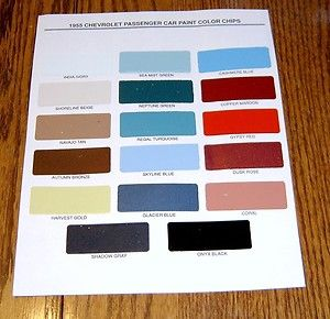 1955 Chevy Paint Chip Chart All Original Colors