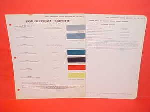 1958 CHEVROLET CORVETTE ONLY PAINT CHIPS COLOR CHART BROCHURE CHEVY
