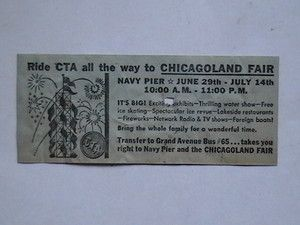 Vintage Chicago Transit Authority CTA Bus Transfer Chicagoland Fair