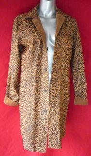 Chicos Reversible Animal Print Suede Coat 0 Leather Jacket s M Kenya