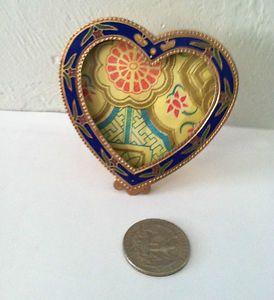 Vintage Enamel Picture Frame Heart Shaped Flowers Butterflys 2 3 4