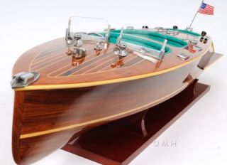chris craft triple cockpit speed boat model varnished