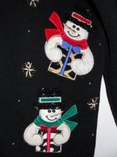 Wild Animal Print Snowman Ugly Christmas Sweater Mens Women M Furry