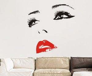 Cheryl Cole Face Wall Art Sticker Choose Different Colour Eyes Lips