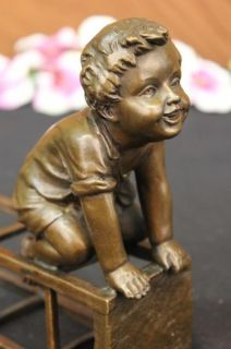 Bronze Sculpture Vienna Signed Children Statue Art Deco Figurine