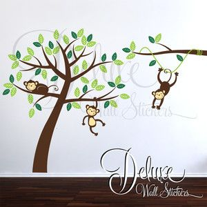 Monkeys Wall Sticker Decal Art Mural Childrens Jungle Nursery