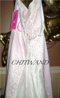 New Morgan Co Light Pink Bling Beaded Halter Formal Prom Dress Size 3