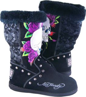 Womens Ed Hardy Black Skull Rose Bootstrap Boots Shoes