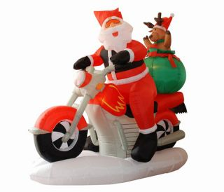 INFLATABLE MOTORCYCLE SANTA CLAUS LIGHTED CHRISTMAS YARD ART DECOR