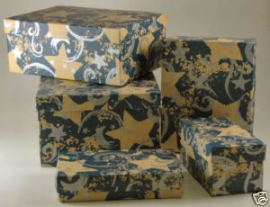 Christmas x mas Blue Tower 5 Gift Boxes Set Gold Stars