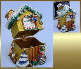 Christmas House Collectible Trinket Box Includes Gold Foil Satin Lined