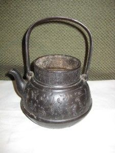 antique chinese japanese cast iron tea pot kettle