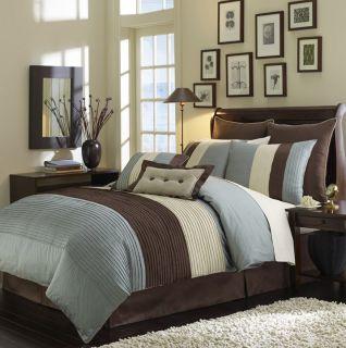 in A Bag RGT Blue Chocolate Brown Luxury Comforter Bedding Set