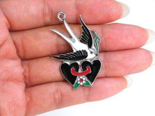 Birds Black Love Heart Swallow Pendants Charms Enamel