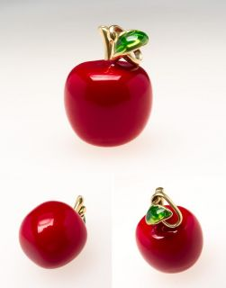 Red Apple Bracelet Charm Pendant Enamel Solid 14k Gold Italy Fine