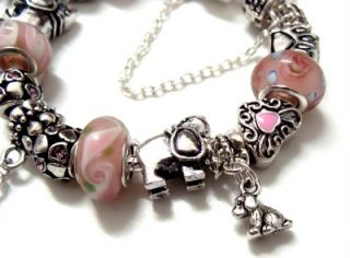 Love My Dog Puppy Paw Print Girls Child Charm Bracelet