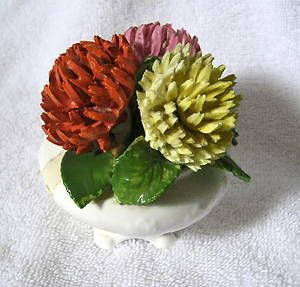 Radnor Bone China Flowers In Pot Vase Chrysanemums Mums England