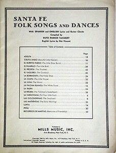 Piano sheet music, Santa Fe Folk Songs and Dances Lyrics & Guitar