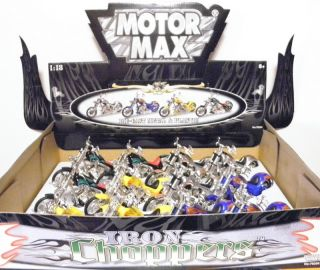 Motor Max Iron Choppers Motorcycles 118 scale 5 1/2 length # S