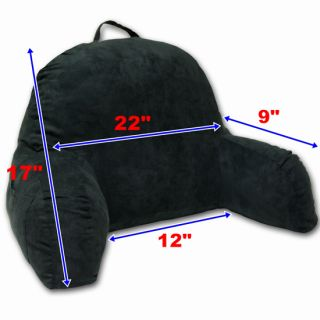 Black Micro Suede Comfort Back Bed Rest Support Pillow