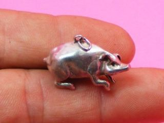 Nanas Vintage Sterling Silver 3D Chubby Pig Charm Pendant