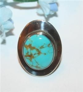 Finest Navajo Ben Chavez Turquoise Sterling Silver Ring Modernist