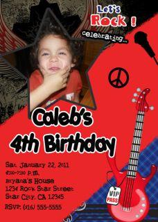 Girls Boys Rock Star Rocker Birthday Party Invitations