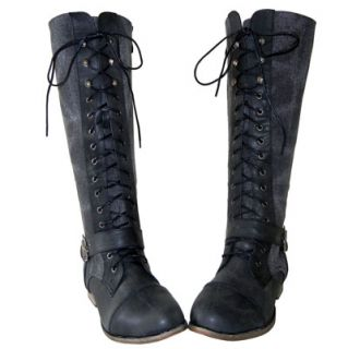 Army Chic Canvas Knee High Lace up Military Combat Boots Black
