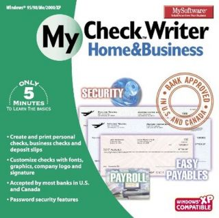 My Software Check Writer Home Business New for PC XP 32 Bit SEALED