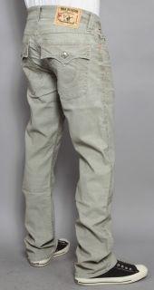 Mens True Religion Jeans Ricky Micro Corduroy Straight Leg Sage 33