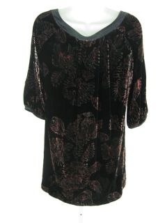 Christiane Calle Calypso Black Red Velvet Tunic Top S