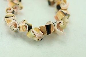 Vintage Costume Jewelry 18 Ethnic Shell Necklace Pink Brown Tones
