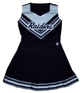 PC CDT Cheer Uniform Black White Silver Raiders Youth Large