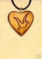 Christian Dove Wooden Heart Pendant JL160