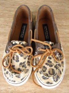 40 Sperry Top Sider Girls Size 13M Bahama Skimmer Leopard Print