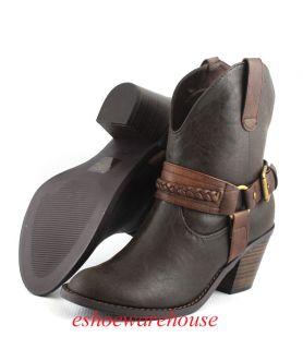 Vintage Dark Brown Urban Western Cowboy Cowgirl Ankle Boots w Braided