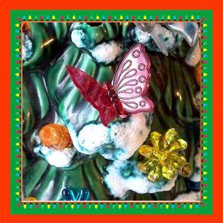 Ceramic Christmas Tree Lights 25 Multi Butterfly Bulbs