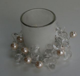White Pearl Clear Bead Christmas Candle Holder Rings So Pretty