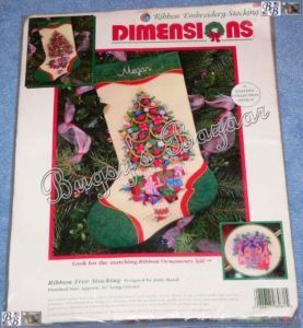 Dimensions Ribbon Tree Embroidery Christmas Stocking Kit