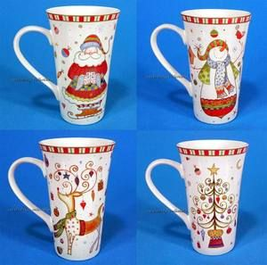 222 Fifth Christmas Play Tall Latte Coffee Mug Set of 4 Santa Snowman