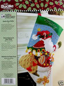 Discontinued Santa Says Hello Felt Christmas Stocking Kit New