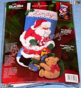 Bucilla Santa Playful Bear Felt Christmas Stocking Kit