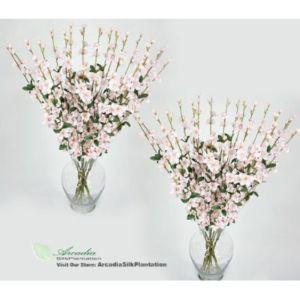 24 Pcs Artificial Silk Flower Cherry Blossom x4 Pink