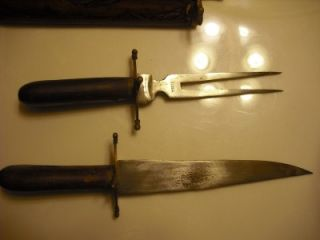 Vintage Antique Carving Hardwood Brass Knife/Fork Set from India