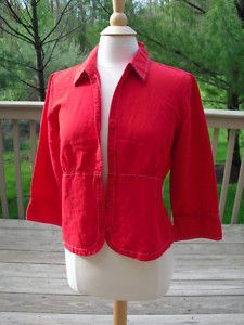 Christopher Banks M Top Blouse Shirt Jacket Blazr Red