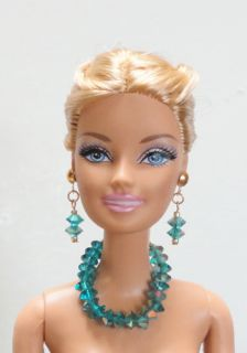 Doll Necklace & Earrings Set w/ Swarovski TEAL BLUE AURORA Crystals