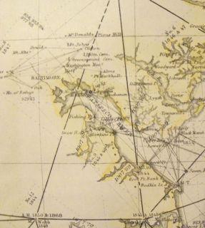 Scarce Big Chesapeake Bay Delaware Virginia Maryland 1873 Map Hand